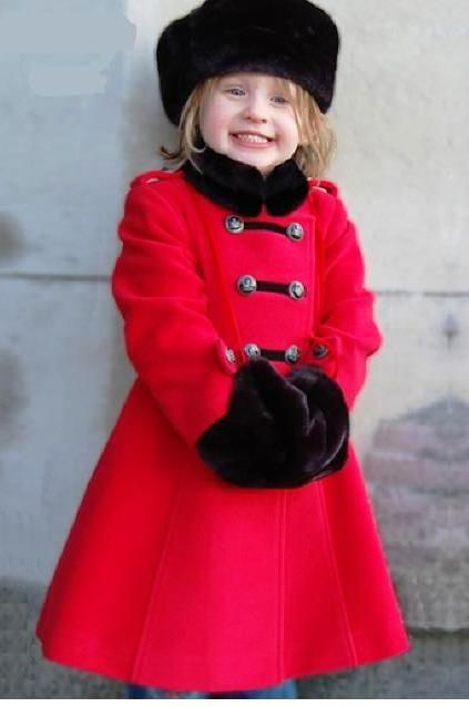 cac8f44ac989 www.ellabean.co.uk Loving this Russian Red Winter coat with black fur hat  and muff, perfect classic timeless for the little princess