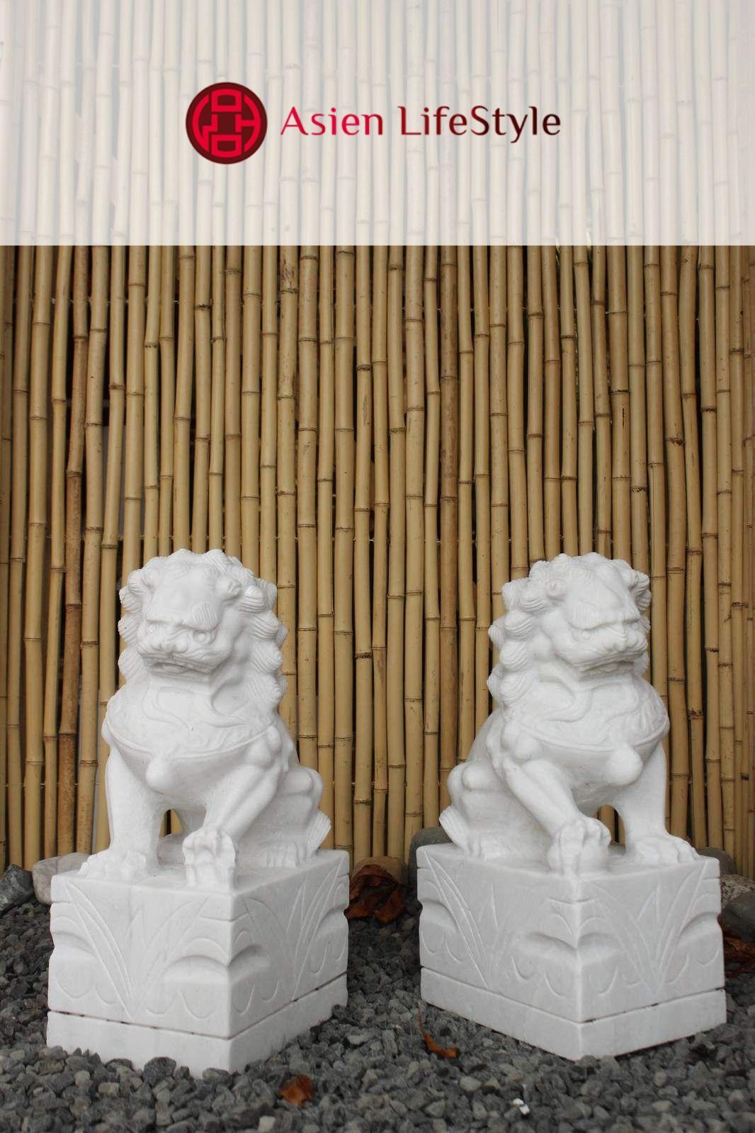 Marmor Fu Dog Wachterlowen Garten Deko Figuren Garten Deko Chinesischer Garten Bonsai Pflanzen