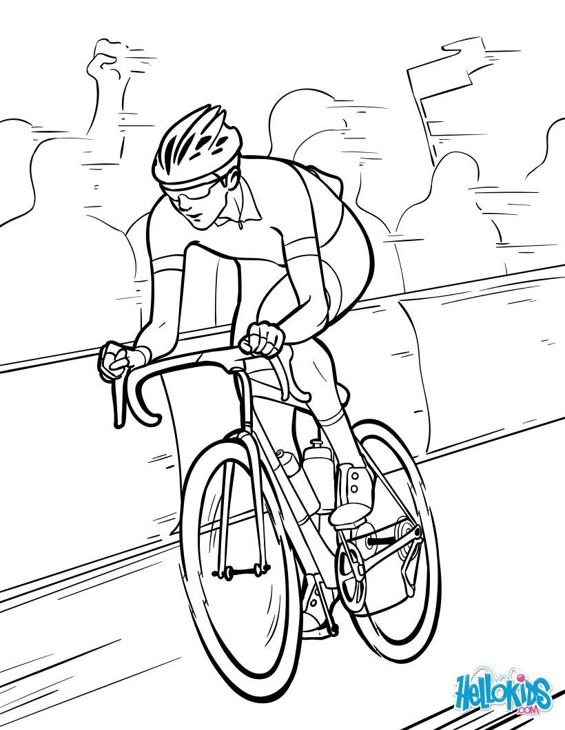 Tour De France Coloring Sheet More Cycling And Sports Coloring Sheets On Hellokids Com Sports Coloring Pages Coloring Pages Football Coloring Pages