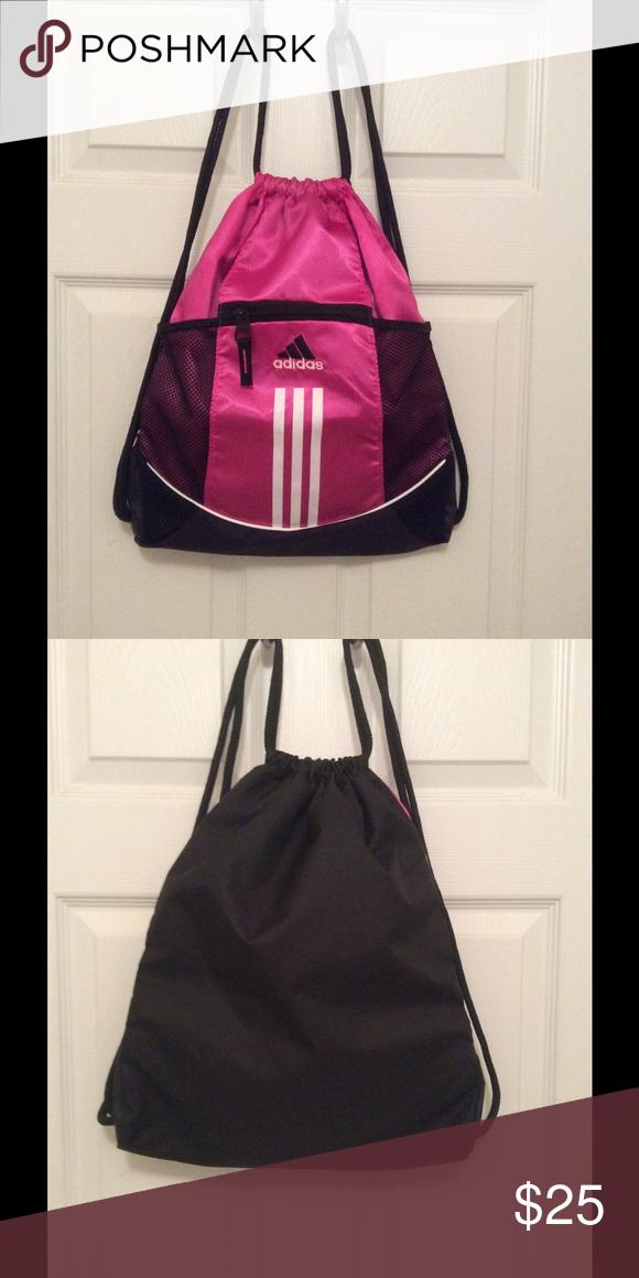 553ff68dc4e ADIDAS Bag NWOT pink, black   white drawstring backpack🚫NO TRADES🚫 Adidas  Bags Backpacks