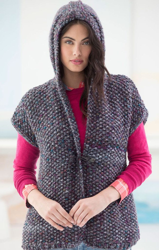 Free Knitting Pattern for Powder Ridge Hooded Vest - Seed stitch hoodie  sweater is a quick knit in super bulky yarn. S M (L de6616b742175