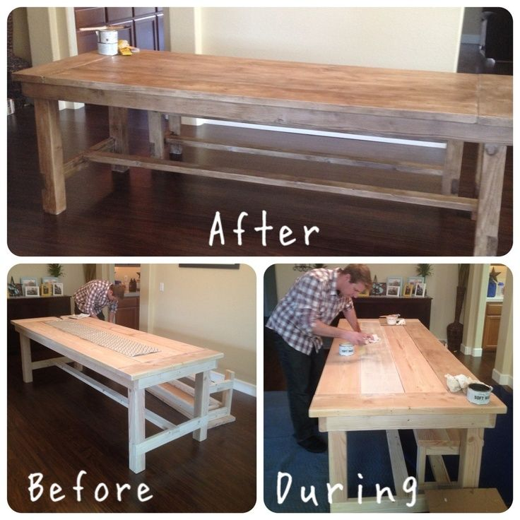 White Wash Wood Dining Table: DIY Farmhouse Table Using Annie