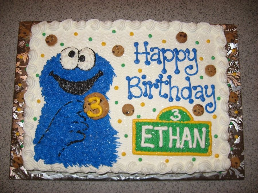 Cookie Monster Cakes Sheet Cake Half French Vanilla With