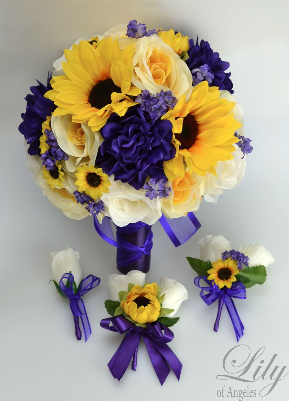 Wedding bouquets of sunflowers   Piece Package Silk Flower Wedding Bridal Bouquet Sets Sunflower