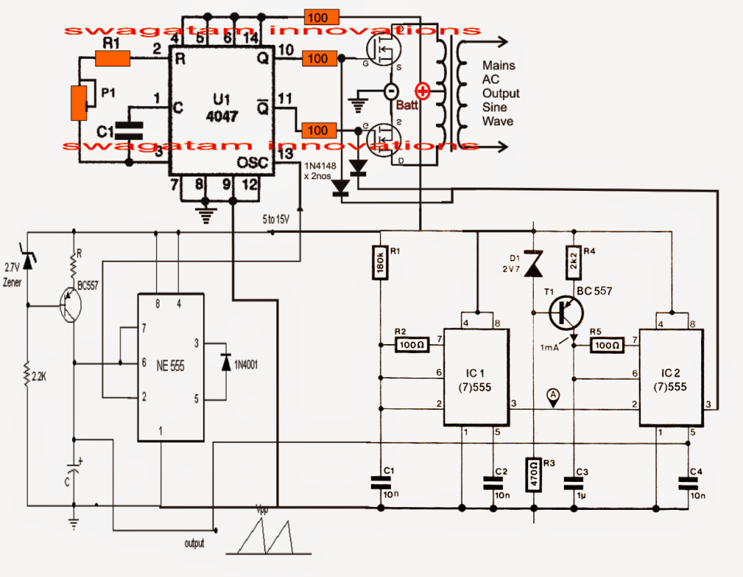 Pure Sine Wave Inverter Circuit Using Ic 4047 Electronic And Projects Circuitcircuit Diagramtrue Diagram