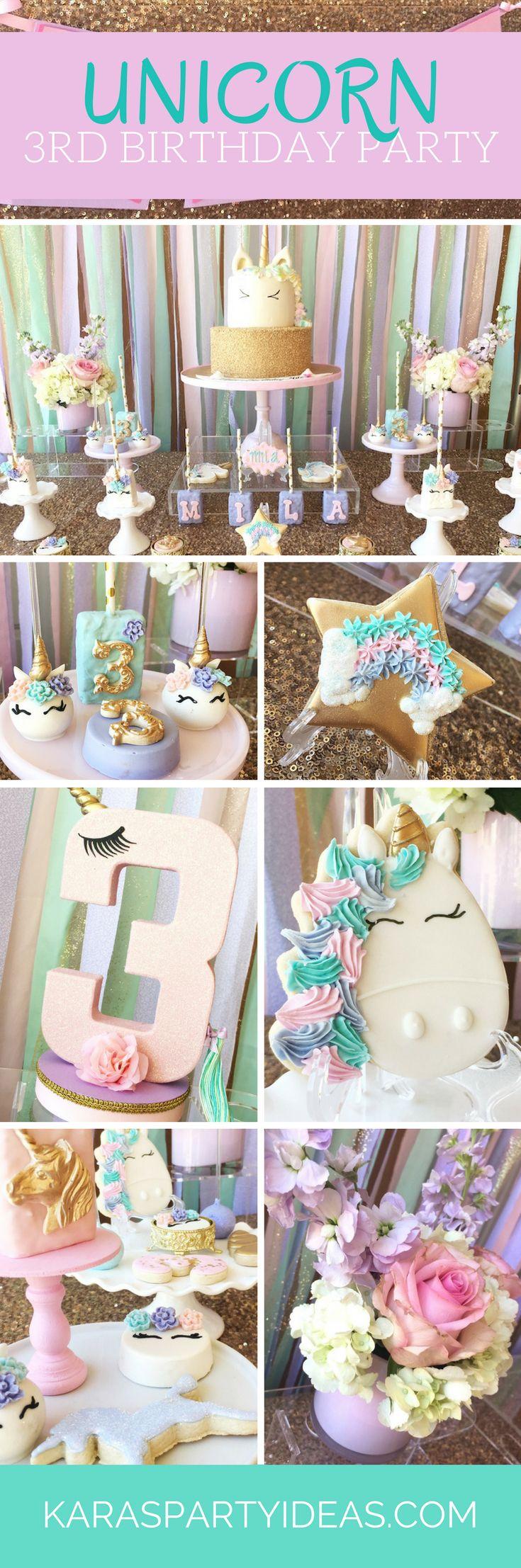 Unicorn 3rd Birthday Party Kara S Party Ideas Birthday Parties Unicorn Birthday Parties 3rd Birthday Parties
