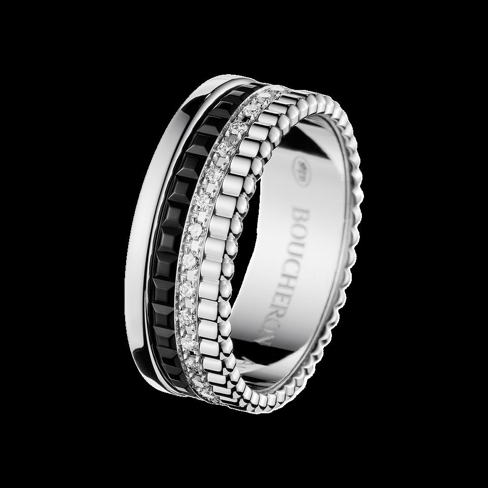Quatre Black Edition Diamond Small Ring. 33 diamonds, 0,25