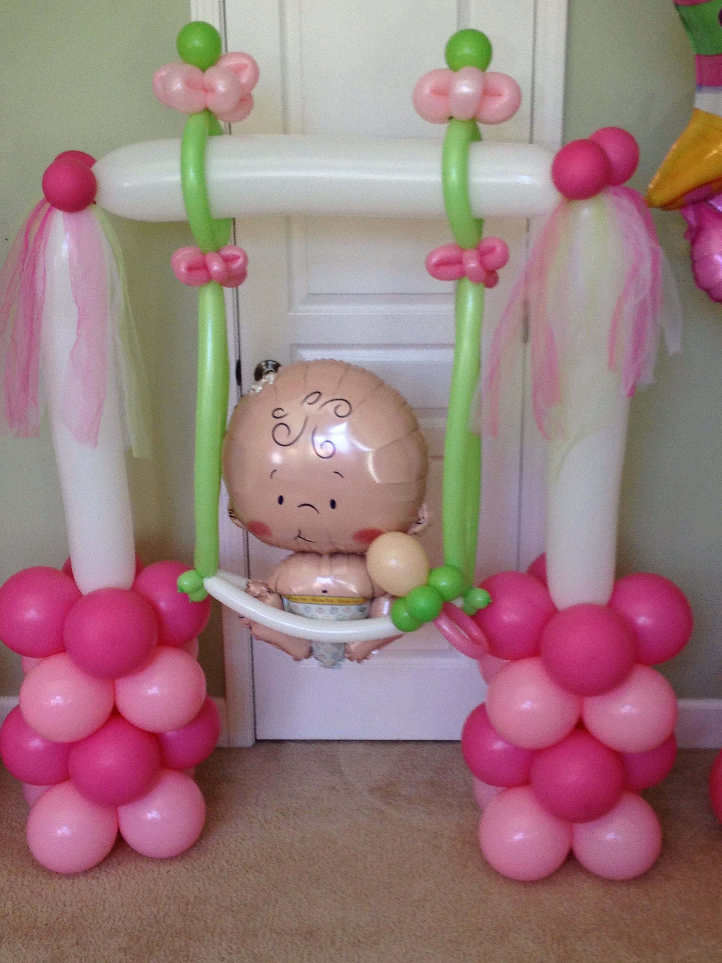 Elaborate baby shower balloon column. | Baby Shower Balloon Decor ...