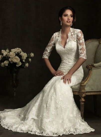 Mermaid Mudekcl Fall Winter Wedding Dress Lace Sleeves Collection ...