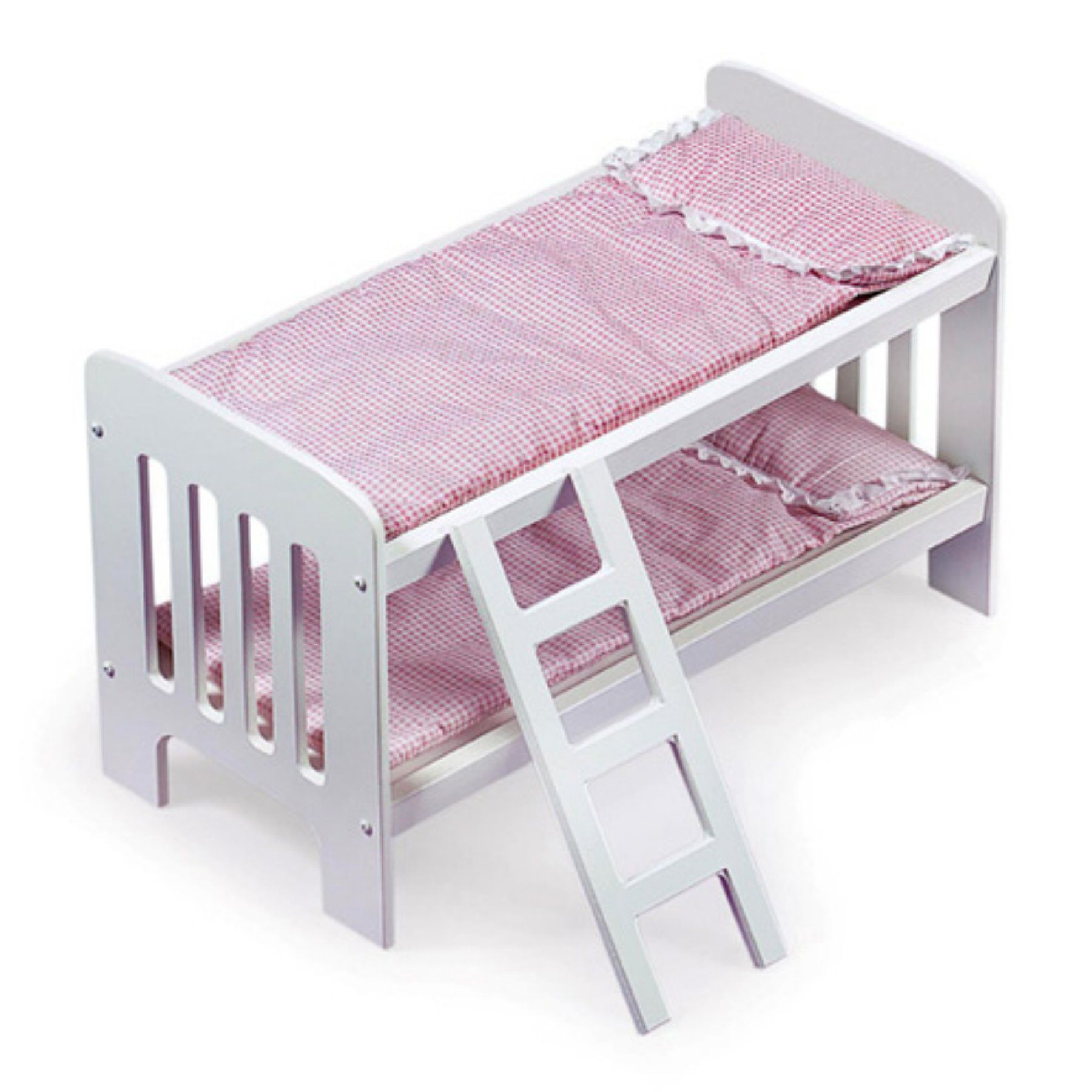 Badger Basket Pink Gingham Princess Doll Bunk Bed with Ladder - 01855