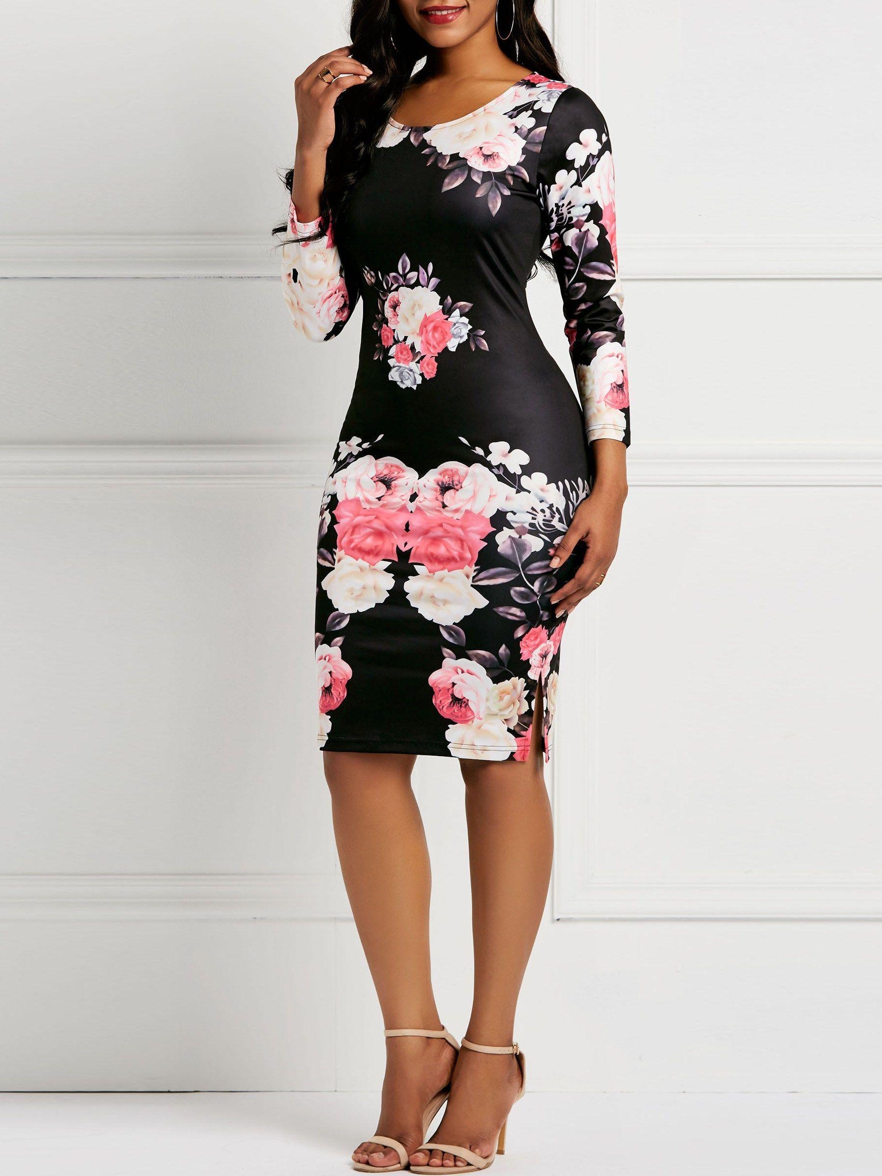 Long Sleeve Print Round Neck Women S Bodycon Dress Bodycon Floral Dress Women Bodycon Dress Cheap Bodycon Dress [ 2400 x 1800 Pixel ]