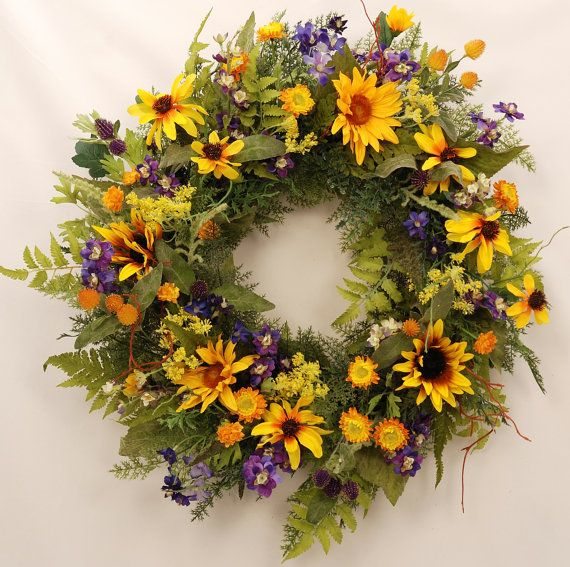 Summer Breeze  Stunning Sunflower Wreath by WillowgaleDesigns, $59.99
