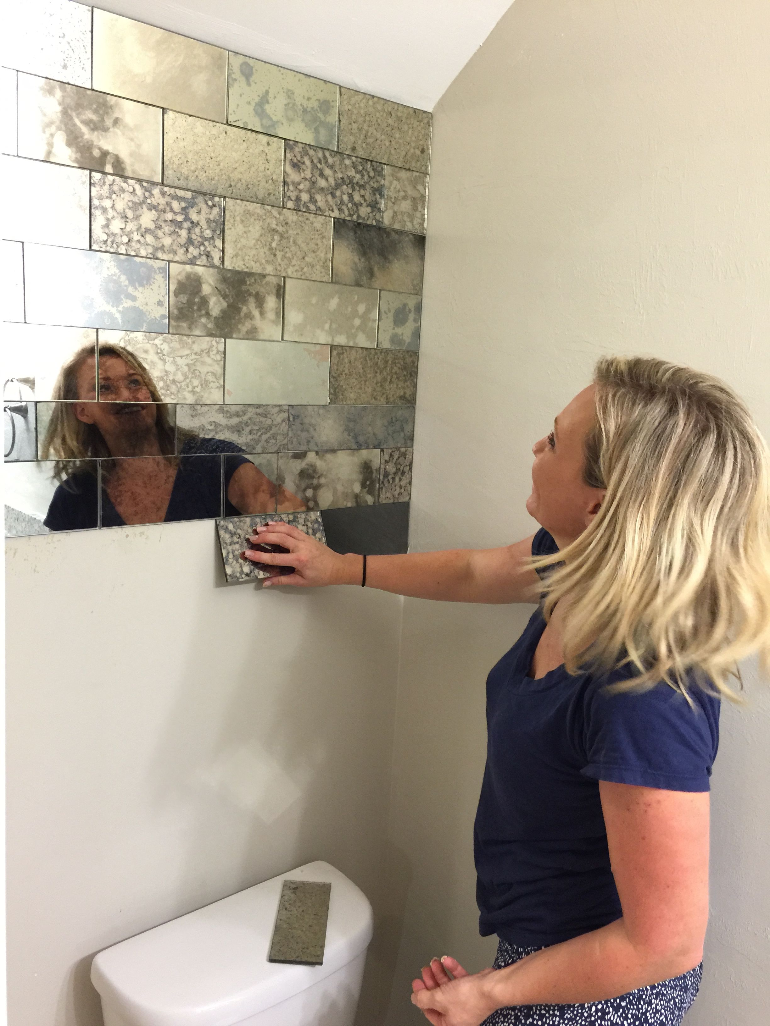 Antique Mirror Subway Tiles Baths Toilets In 2018 Pinterest