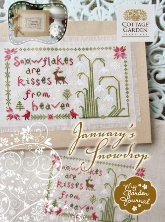 Cottage Garden Samplings - My Garden Journal - Part 01 of 12 - January Snowdrop - Cross Stitch Pattern