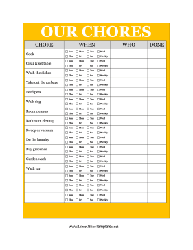 Decorated With A Bright Yellow Border This Printable Chore Chart