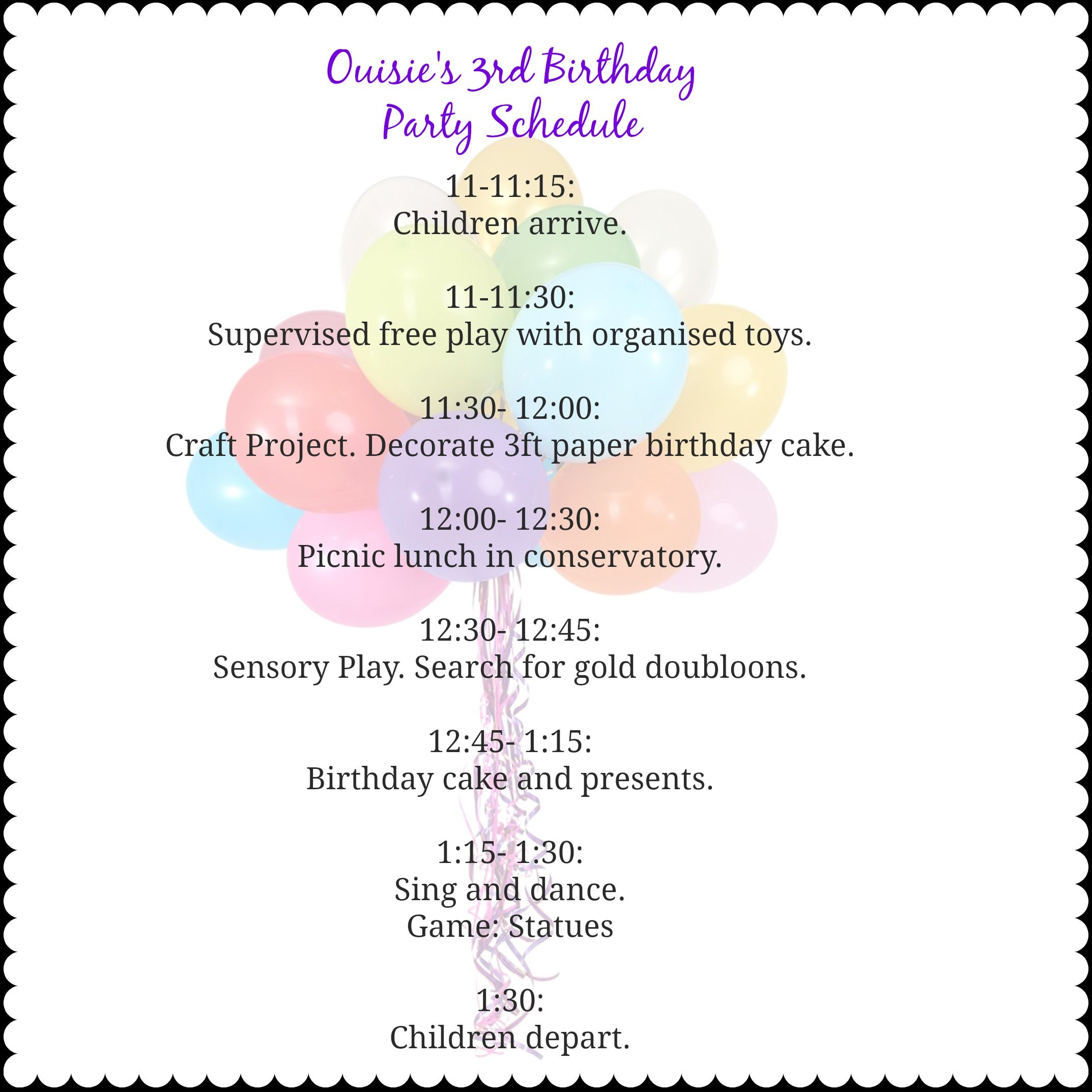 Birthday Party Schedule Google Search Itinerary Template