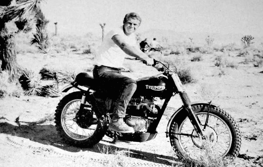 """Actor Steve McQueen and his Triumph desert bike in their ..."