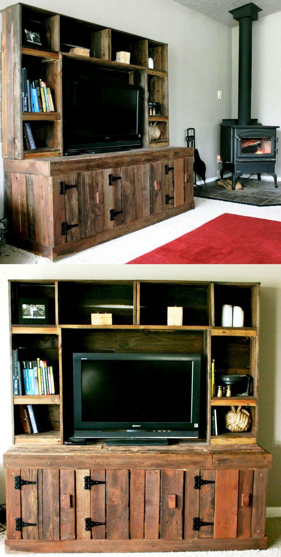 trinell brown entertainment wall on pallet entertainment center 20 pallet ideas you can diy for your home 99 pallet entertainment centers home diy pallet furniture pinterest