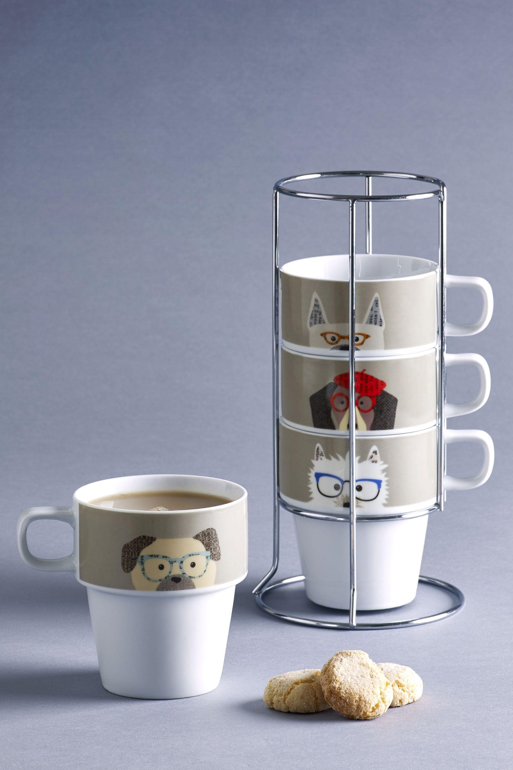 Next Set of 4 Pugs & Co Stacking Mugs Natural Mugs