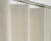 84 Long Beige Linen Shower Curtain 72 X 84 Long Extra Long