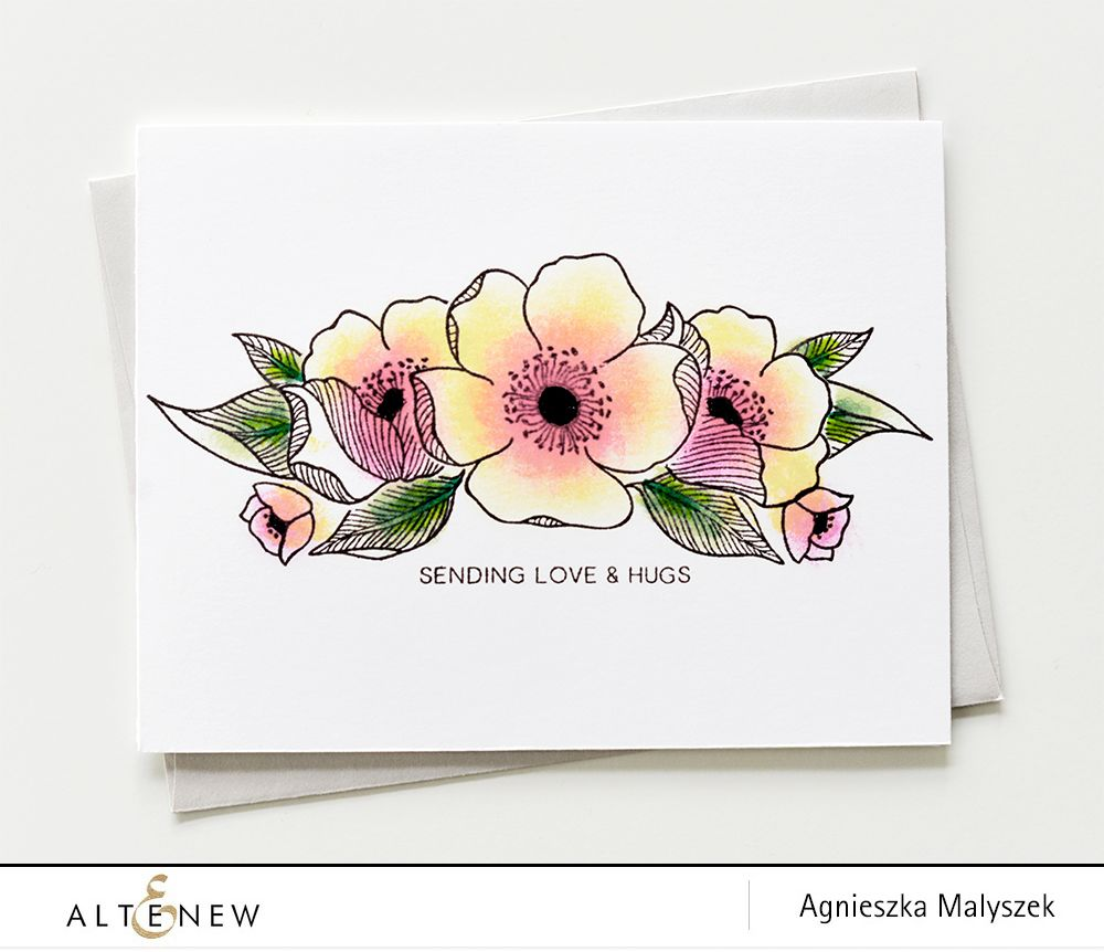 Send love & hugs to your loved ones - These beautiful flowers are stamped with our new Adore You stamp set. Learn more in our blog.  http://altenewblog.com/2016/11/24/stamp-focus-adore/