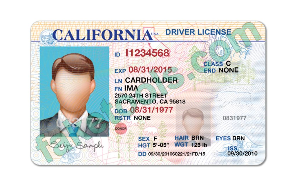 California Driver License Psd Template High Quality Psd Template