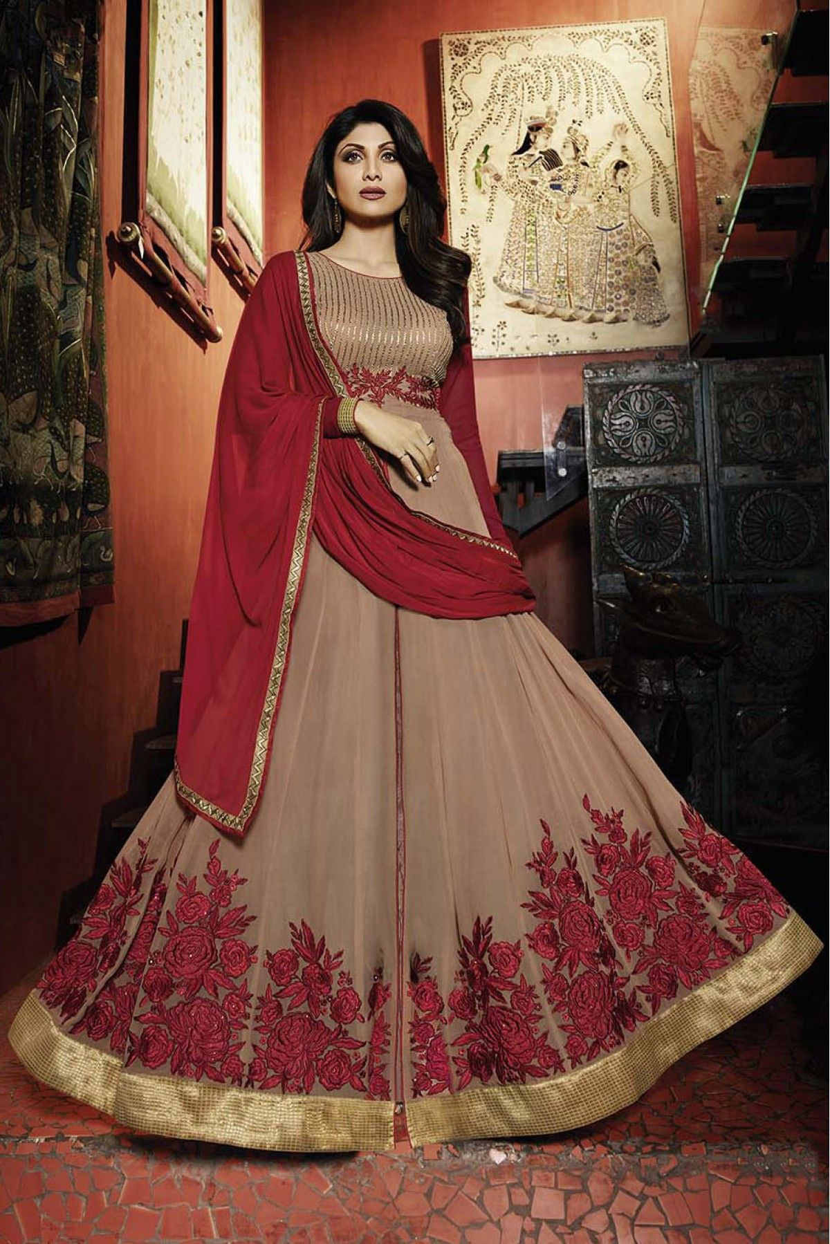 555f0fe80 Bollywood Shilpa Shetty Georgette Semi Stitched Anarkali Suit In ...