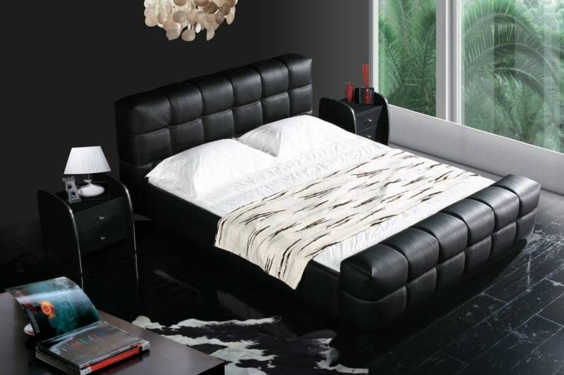 Black Color Real Genuine Leather Bed Soft Bed Double Bed King
