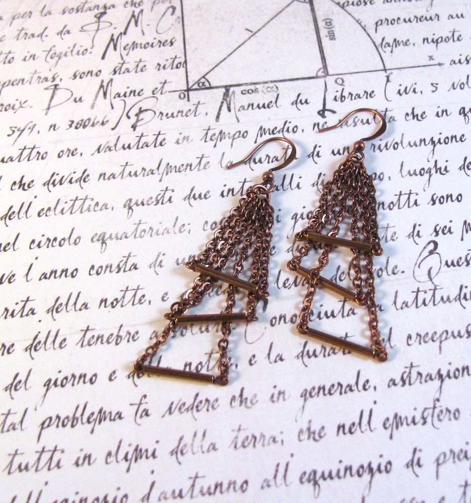 Triumverate - Triple Triangle Geometric Earrings made with Copper. $24.00, via Etsy.