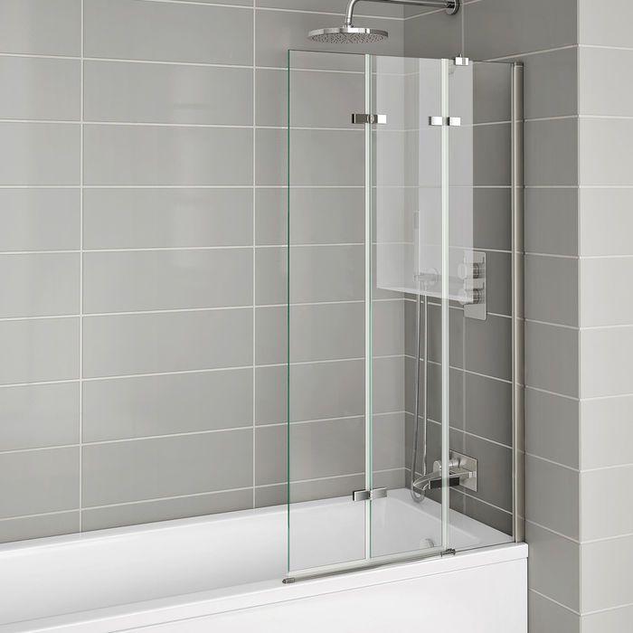6mm Easyclean Folding Bath Screen Right Hand Bath Shower Screens Shower Over Bath Shower Screen