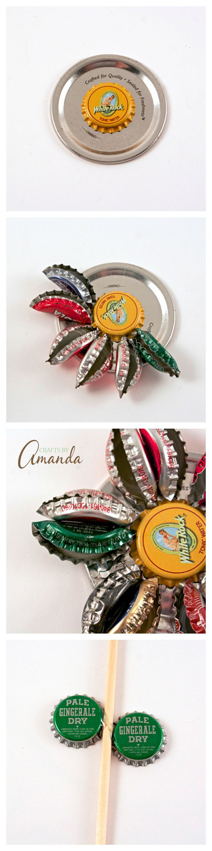 How to make an adorable and rustic bottle cap flower by for How to make bottle cap flowers