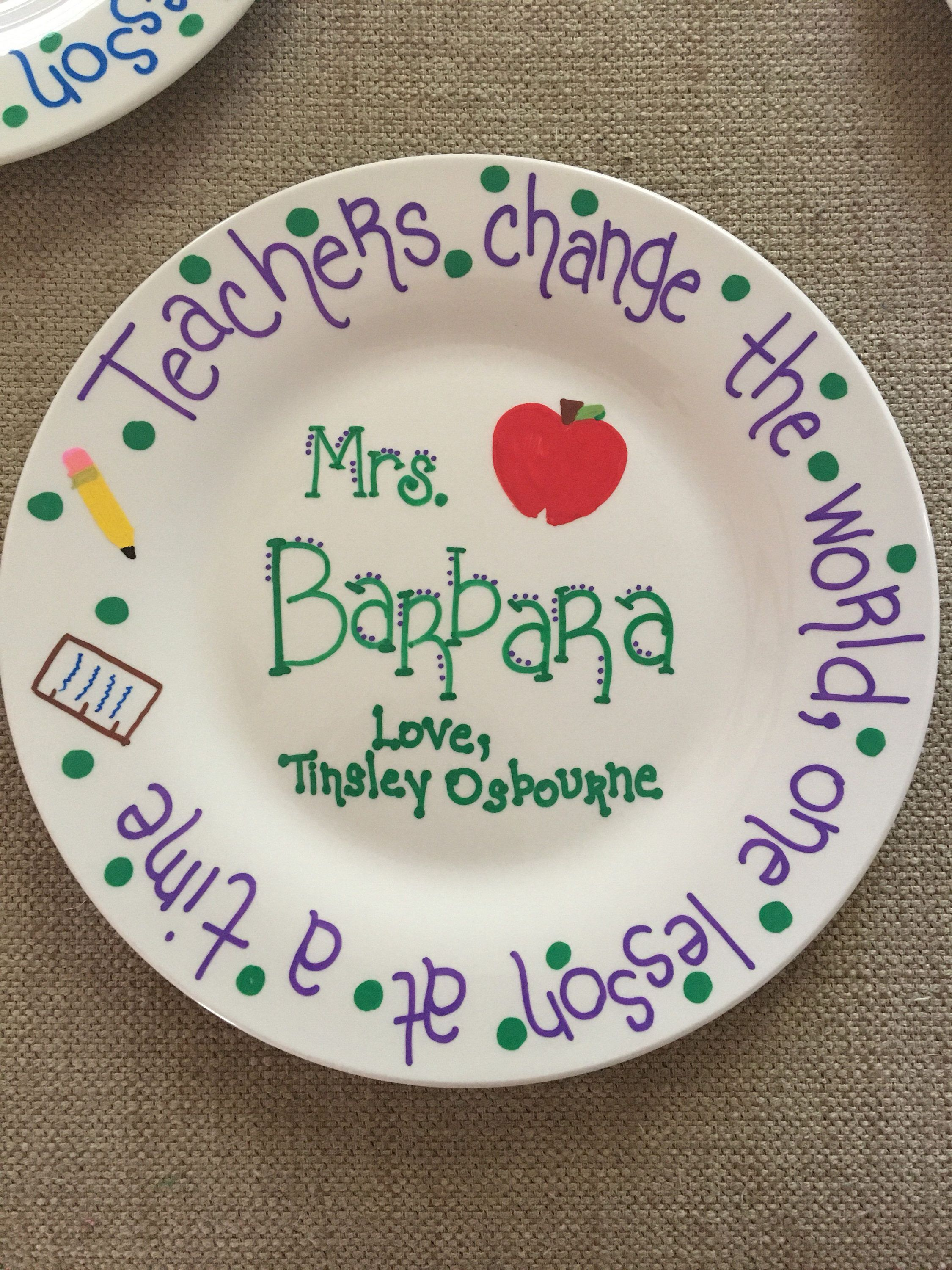 Teacher gift plate personalized plate for end of year teachers