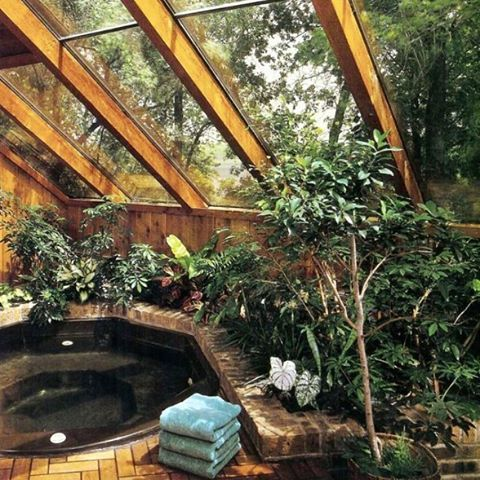 Indoor Garden Sunroom With A Hot Tub Of Course Yes Please Bohemian House Indoor Hot Tub Earthship