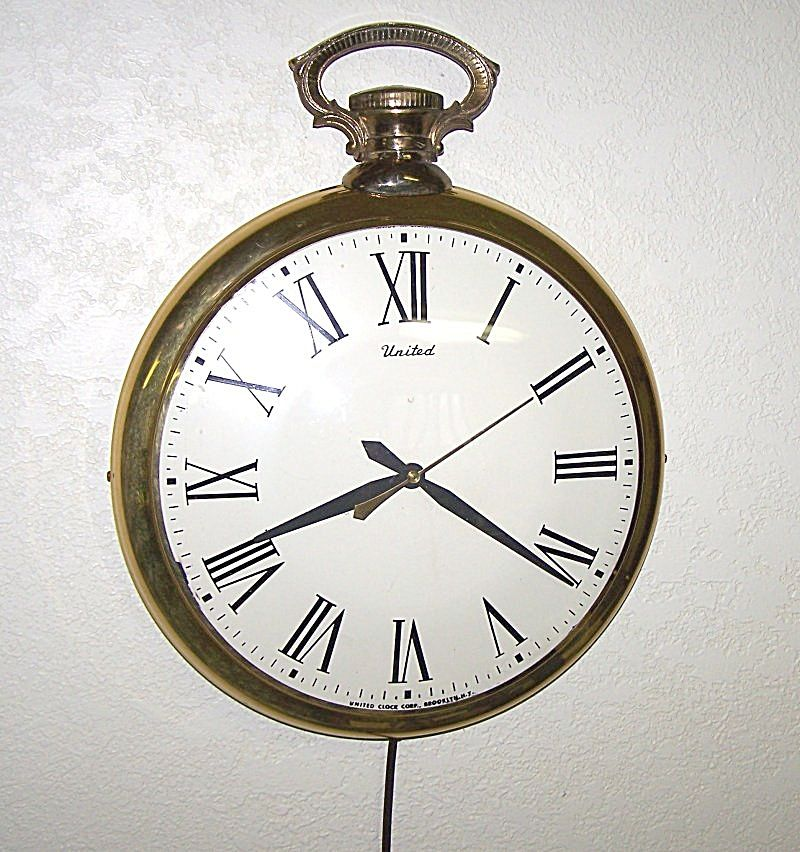 1958 United Large Gold Pocket Watch Electric Wall Clock Antique