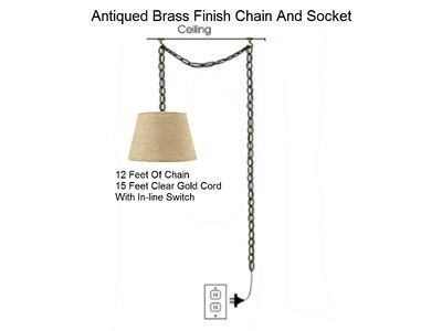 Burlap Swag Lamp Kit Hanging Light Fixture Homespun Natural Plug
