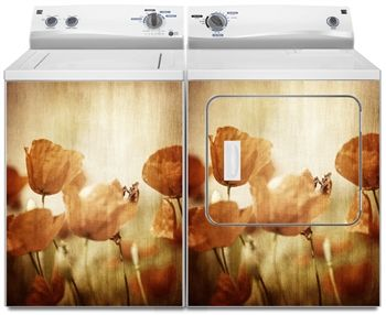 Poppy Flowers Washer And Dryer Magnet Covers Skins Panels Washing And Drying Machine Covers For U Washer And Dryer Washing And Drying Machine Poppy Flower
