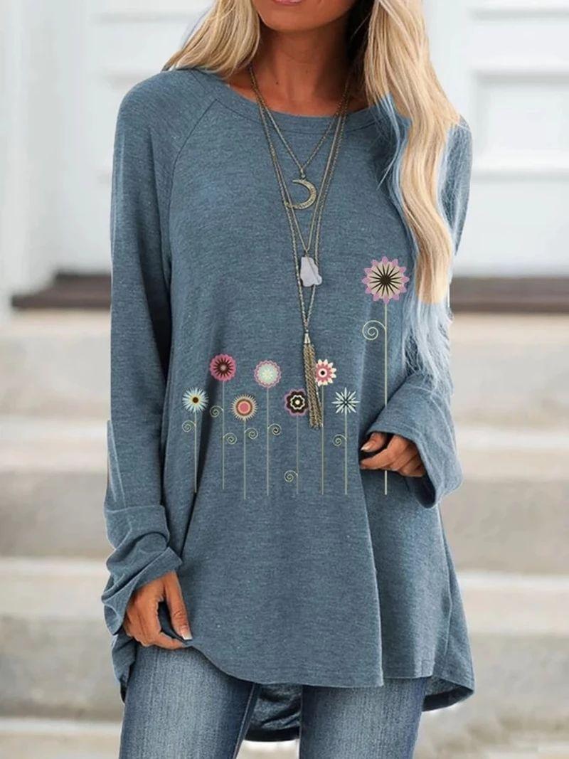 Frieed Women Crewneck Loose Plus Size Cotton Linen Vintage Floral Print Shirt Blouse Top