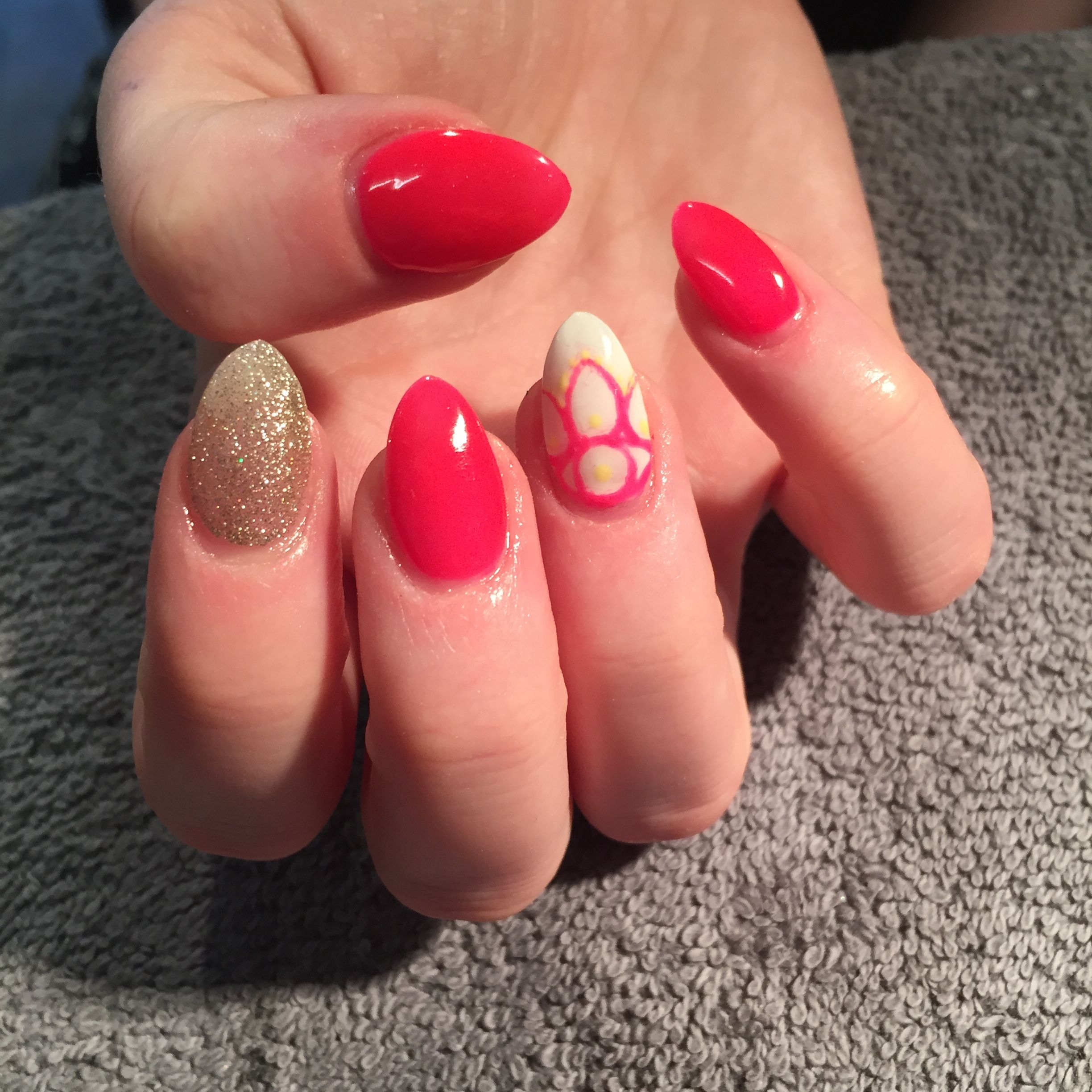 Neon pink nails with gold glitter and henna designs | My clients ...
