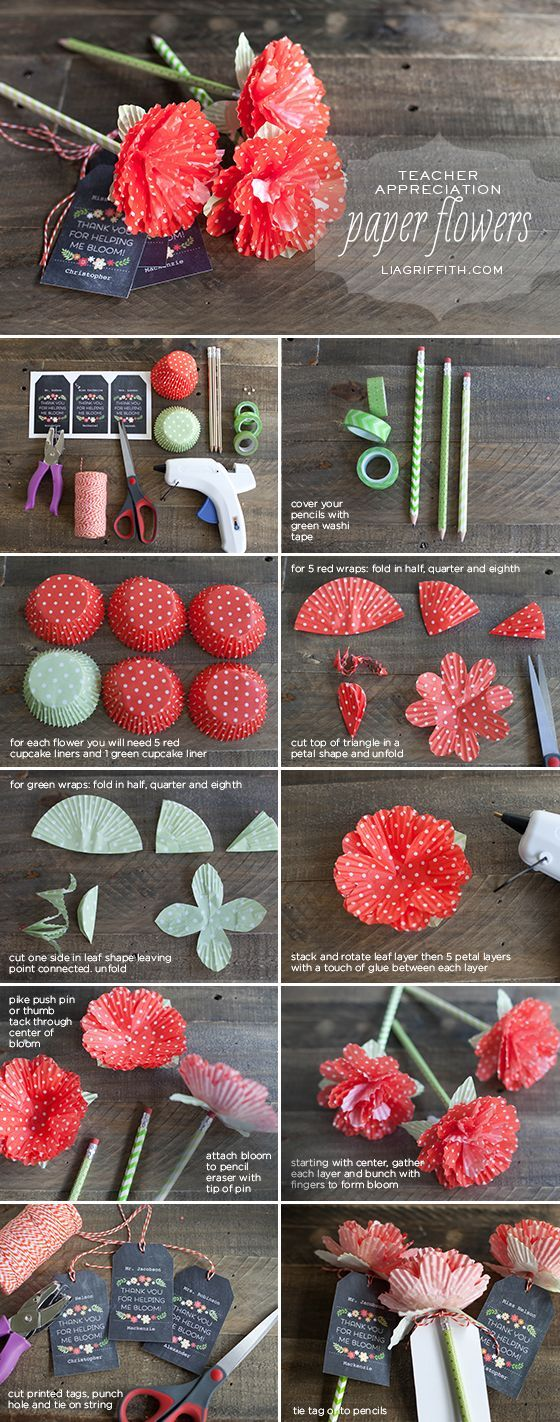 Ideas : How to make flowers out of cupcake liners