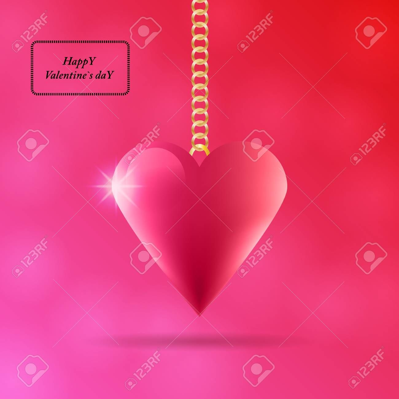 Valentines Day background with red volume heart hanging shadow and lights Illustration