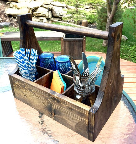 pin about kitchen caddy and kitchen decor on entertaining outdoors with handmade items from etsy on outdoor kitchen essentials id=56503
