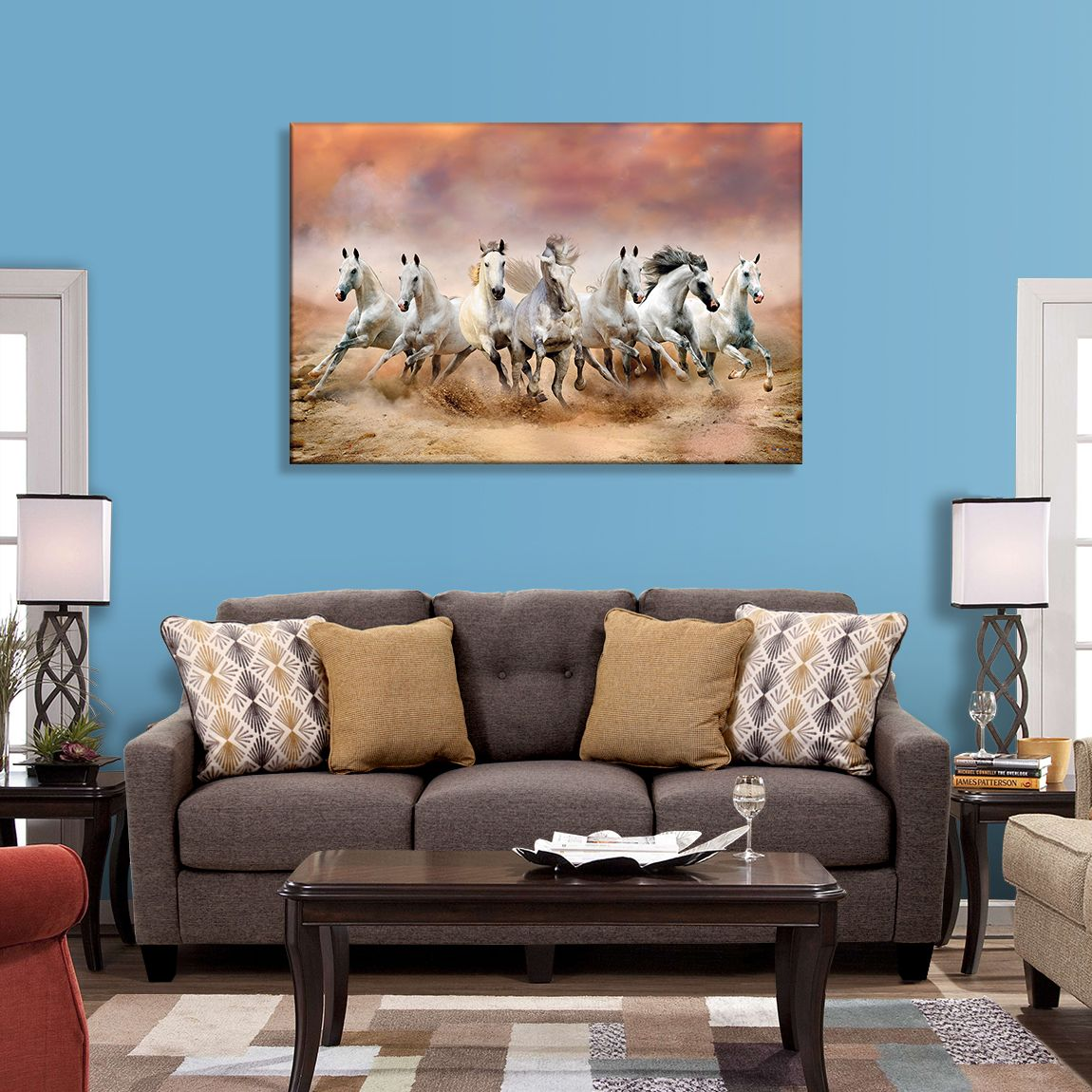 Mpro Tech Uv Print Seven Running Horses Painting For Home And
