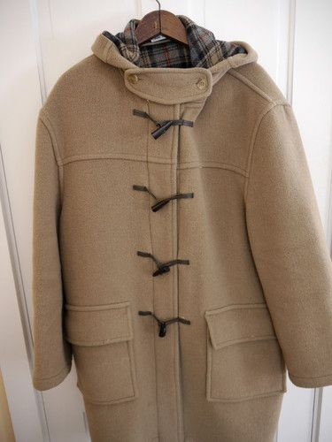Men's Burberry Tan Beige Camel Wool Toggle Duffle Coat UK Made XL ...