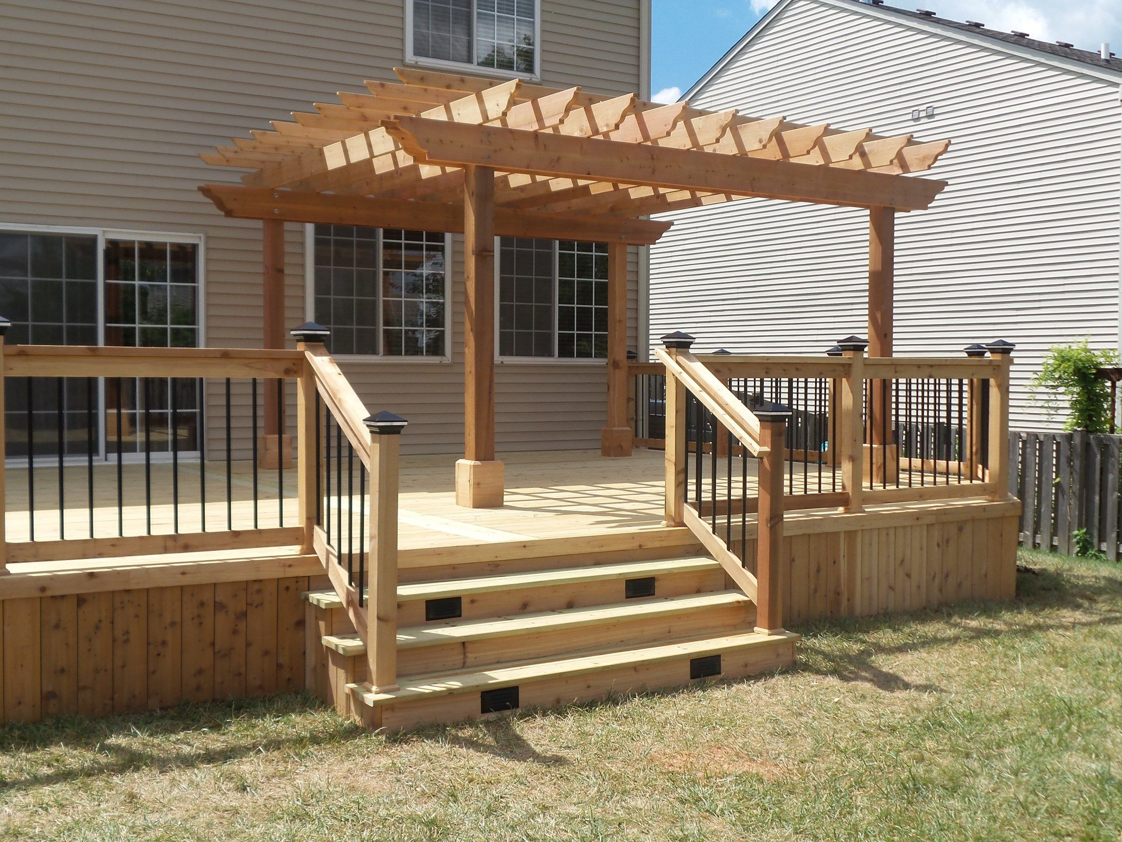 Cedar Deck Amp Pergola Picture 3637 Decks Com Outdoor