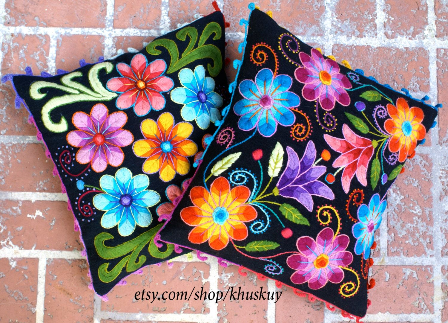 Peruvian pillow cushion covers hand embroidered flowers sheep