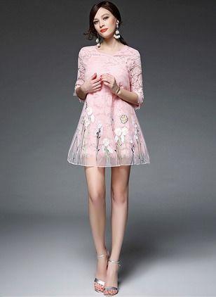 Lace Solid Half Sleeve Mini Vintage Dresses