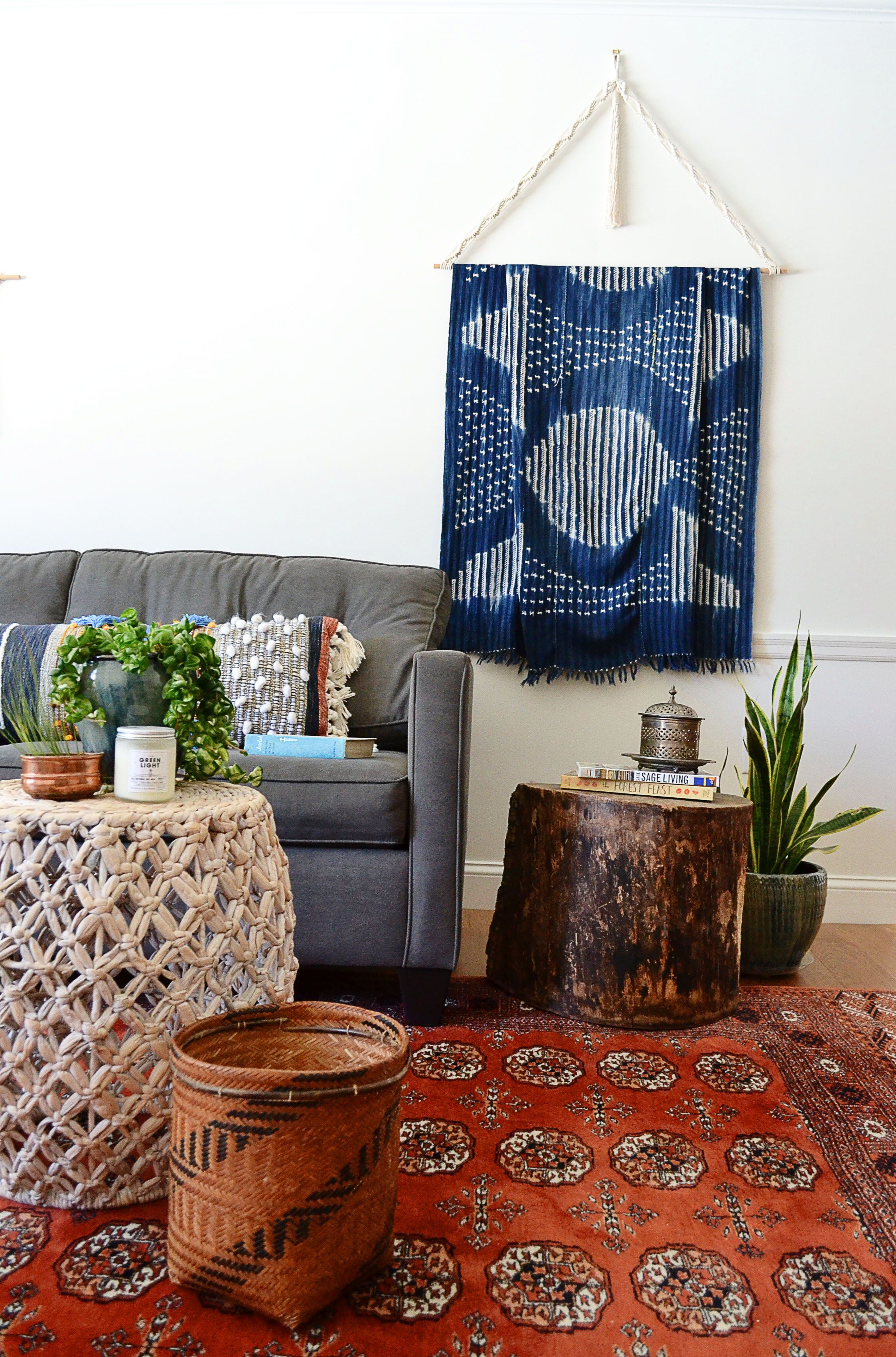 Eclectic home decor with handmade textile hanger by sara banner in