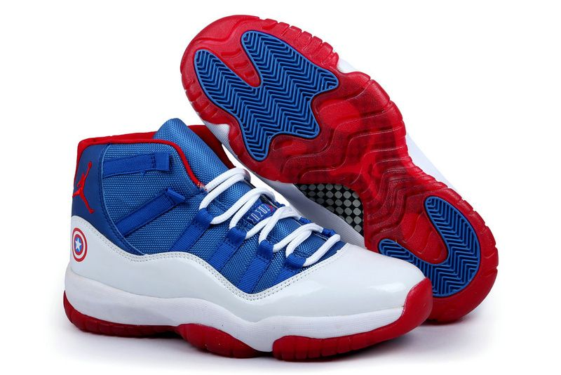 Mens Nike Dunk High Capt America Hightops Custom Shoes Light BlueCrimson For Sale