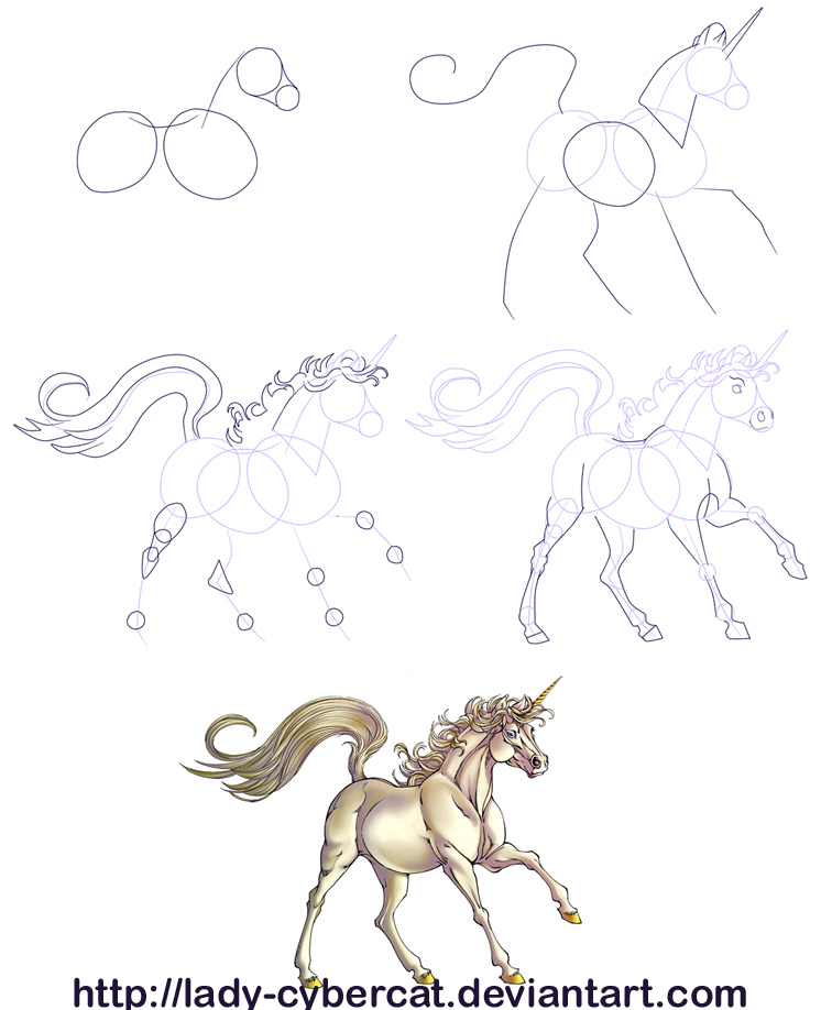 How to draw a unicorn tutorial by lady cybercat on deviantart