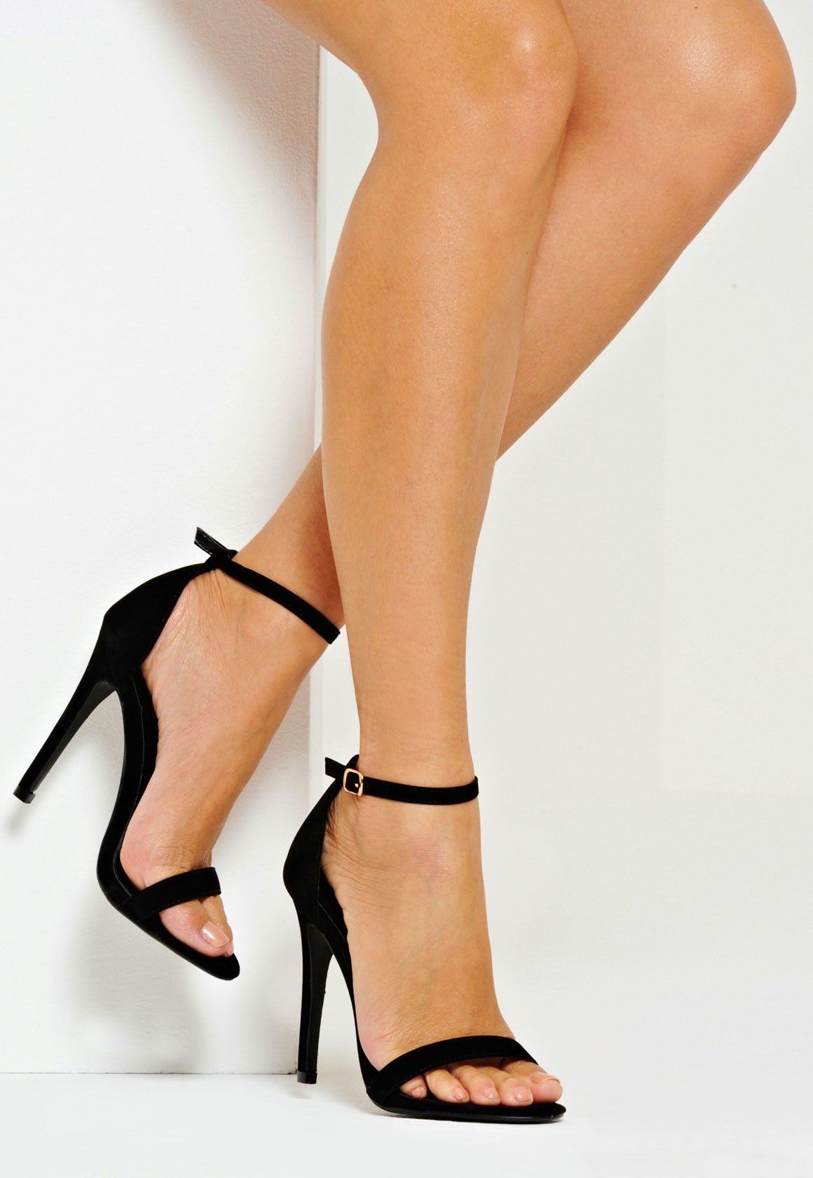 Vicky Classic Single Strap Heels Black Faux Suede | Shoes ...